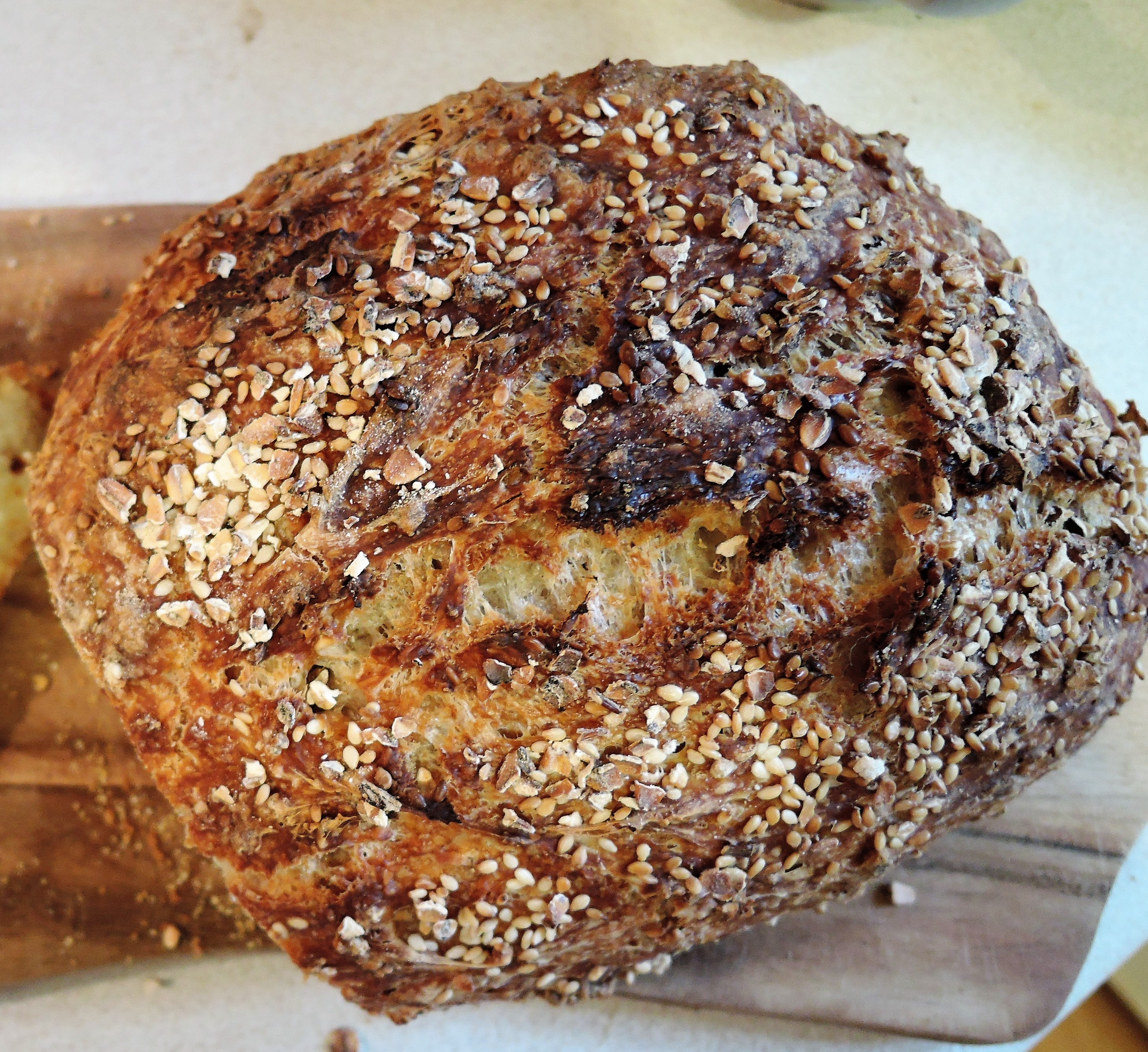 No Knead Seeded Crusty Bread