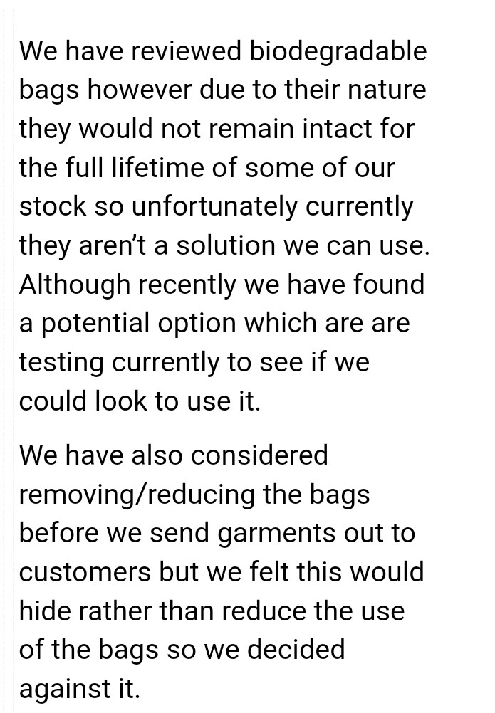 Response from Kite Clothing on company's sustainability policies